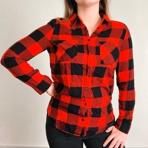 Red & Black Tunic Style Flannel